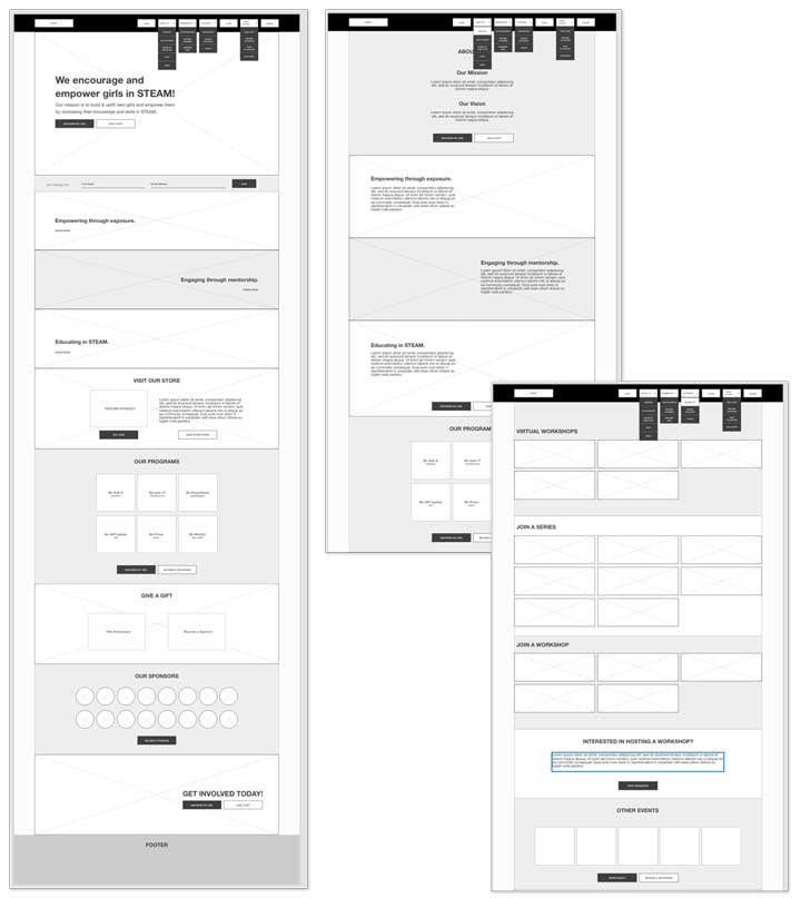 Be-Ruth Website Wireframes